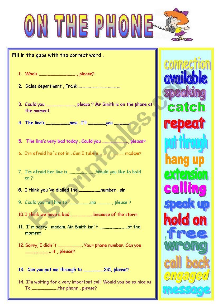 ON THE PHONE  worksheet