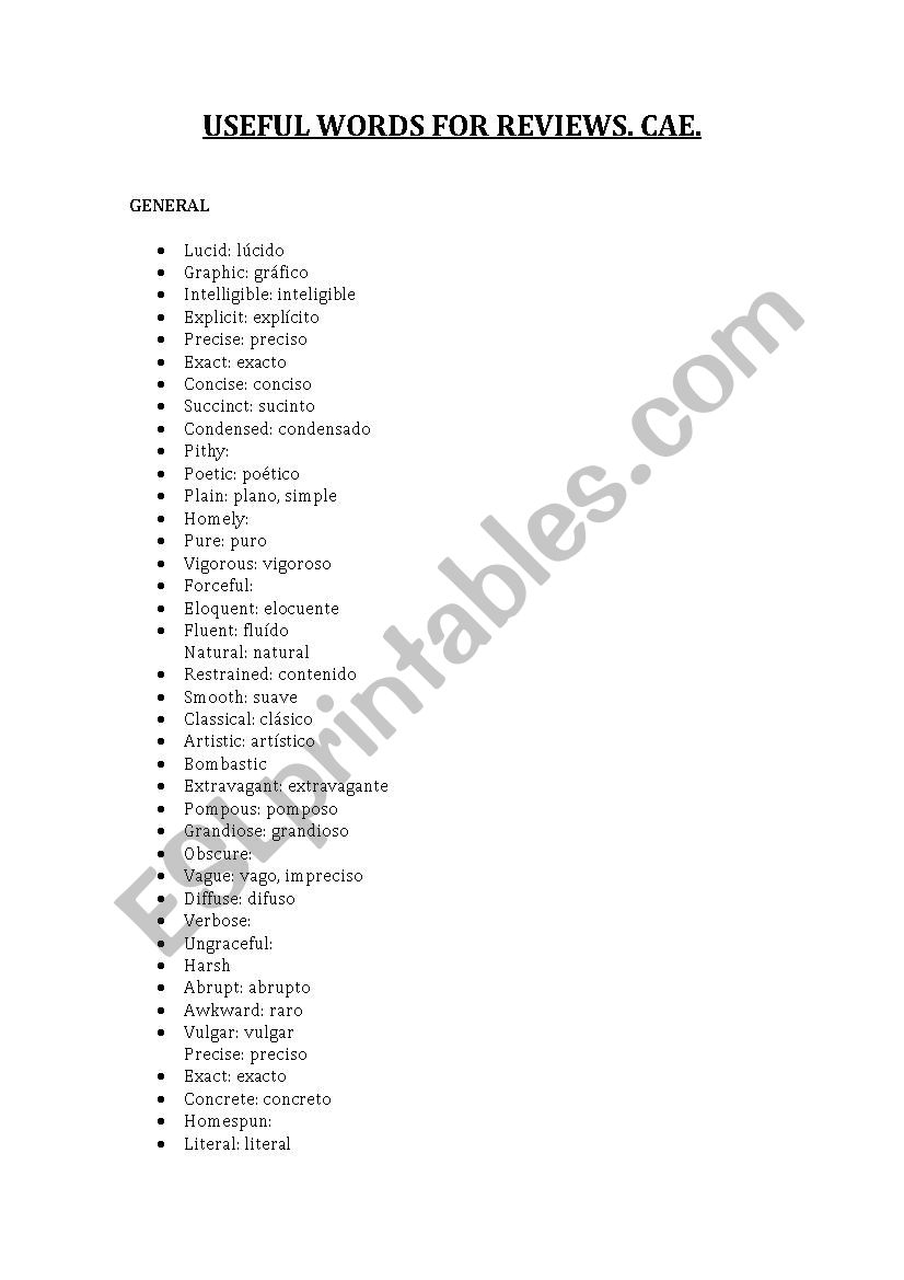 Adjectives for reviews CAE - ESL worksheet by criba