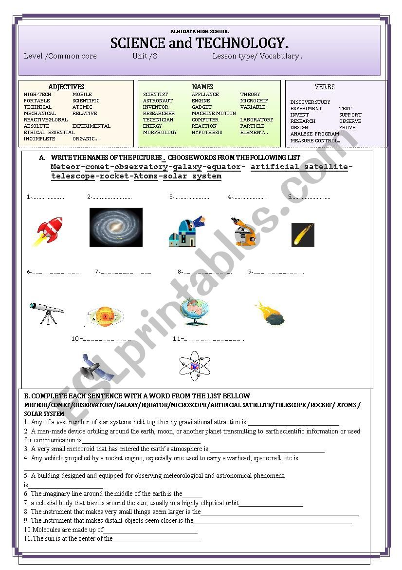science and technology esl worksheet by younous. Black Bedroom Furniture Sets. Home Design Ideas