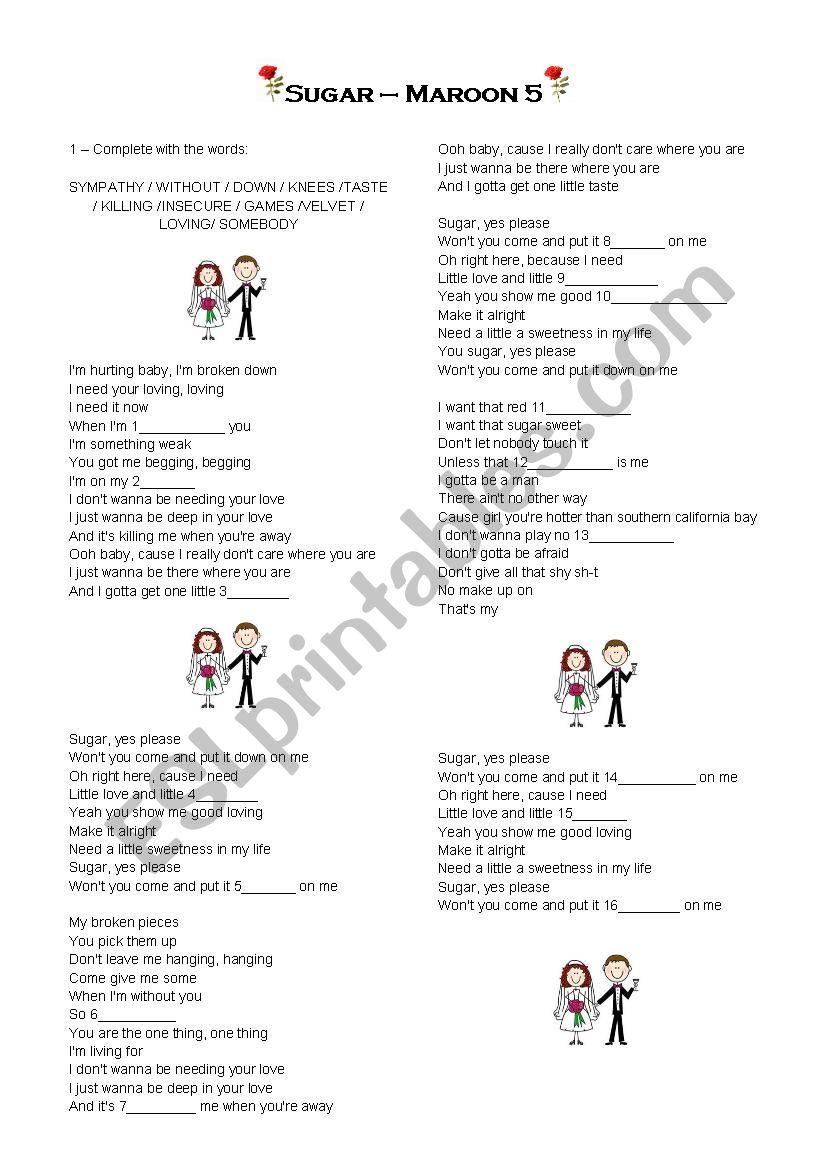 Sugar - Maroon 5 worksheet