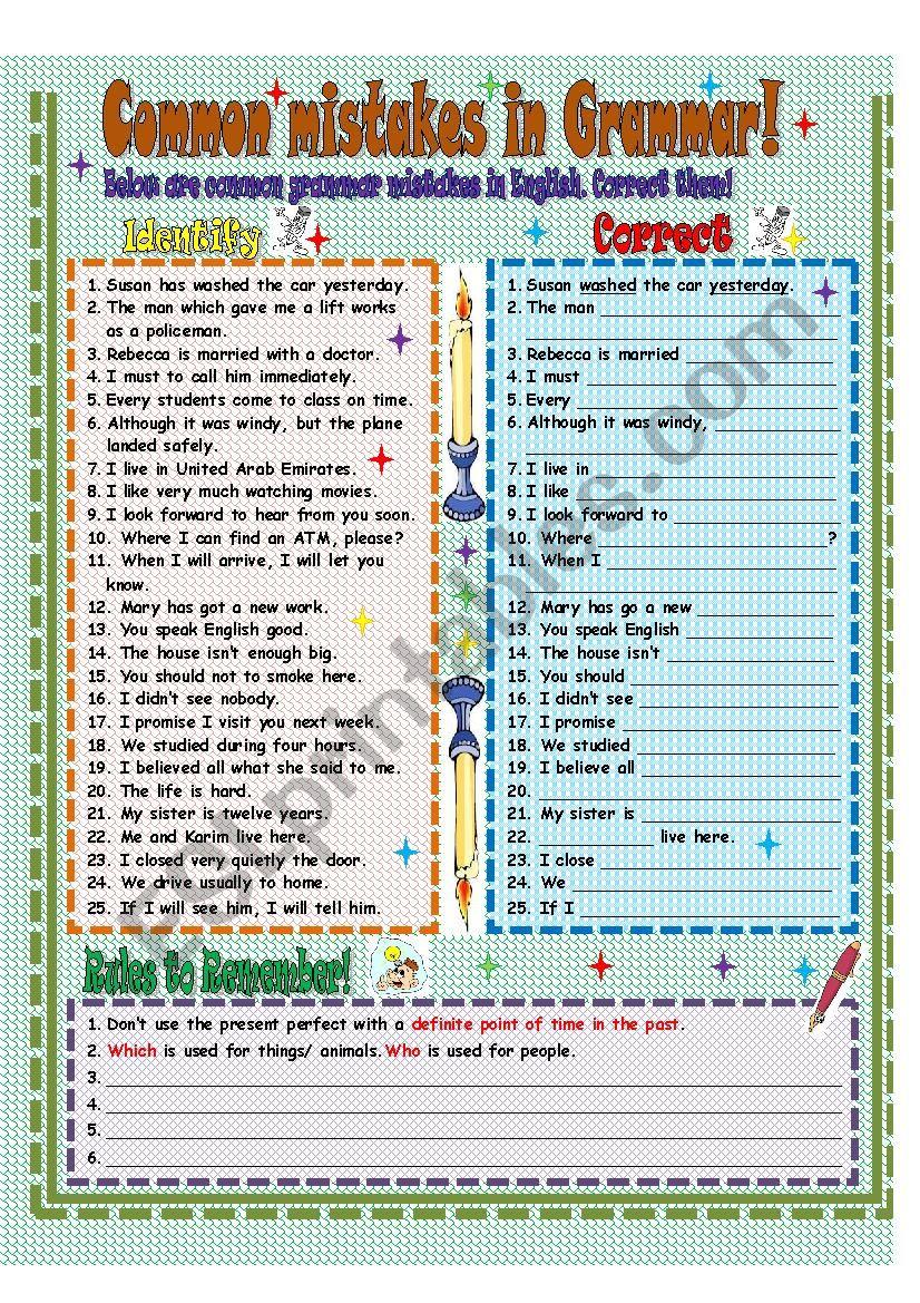 Common Grammar mistakes worksheet