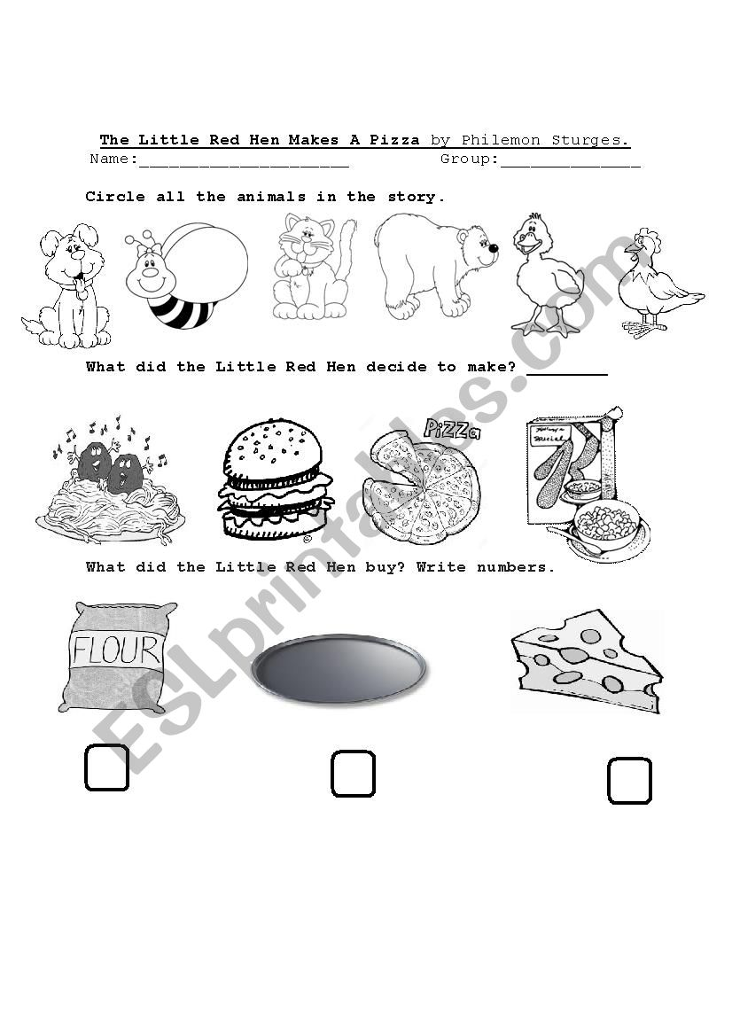 - The Little Red Hen Makes A Pizza - ESL Worksheet By Cozarapoglou