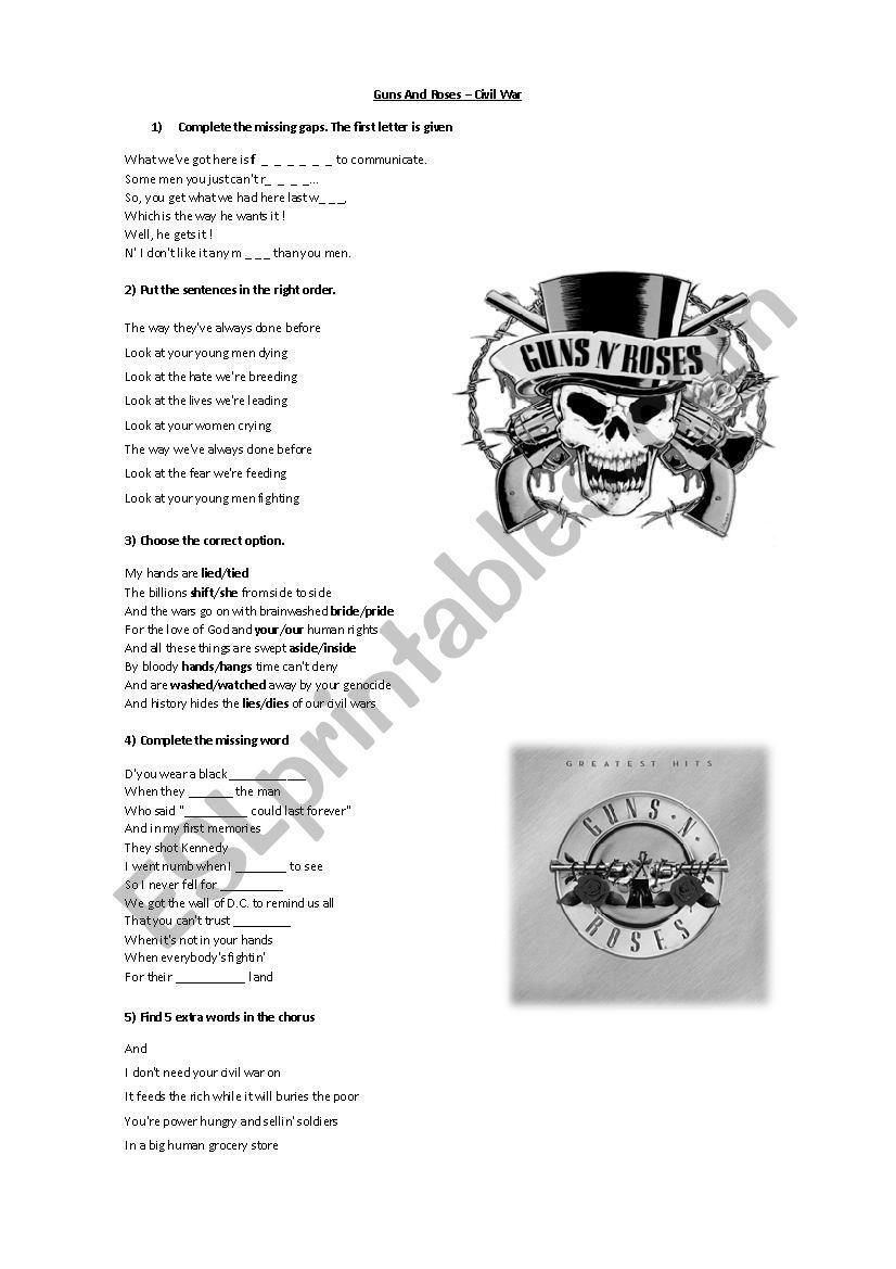 Guns And Roses Civil War Esl Worksheet By Nicolavarria