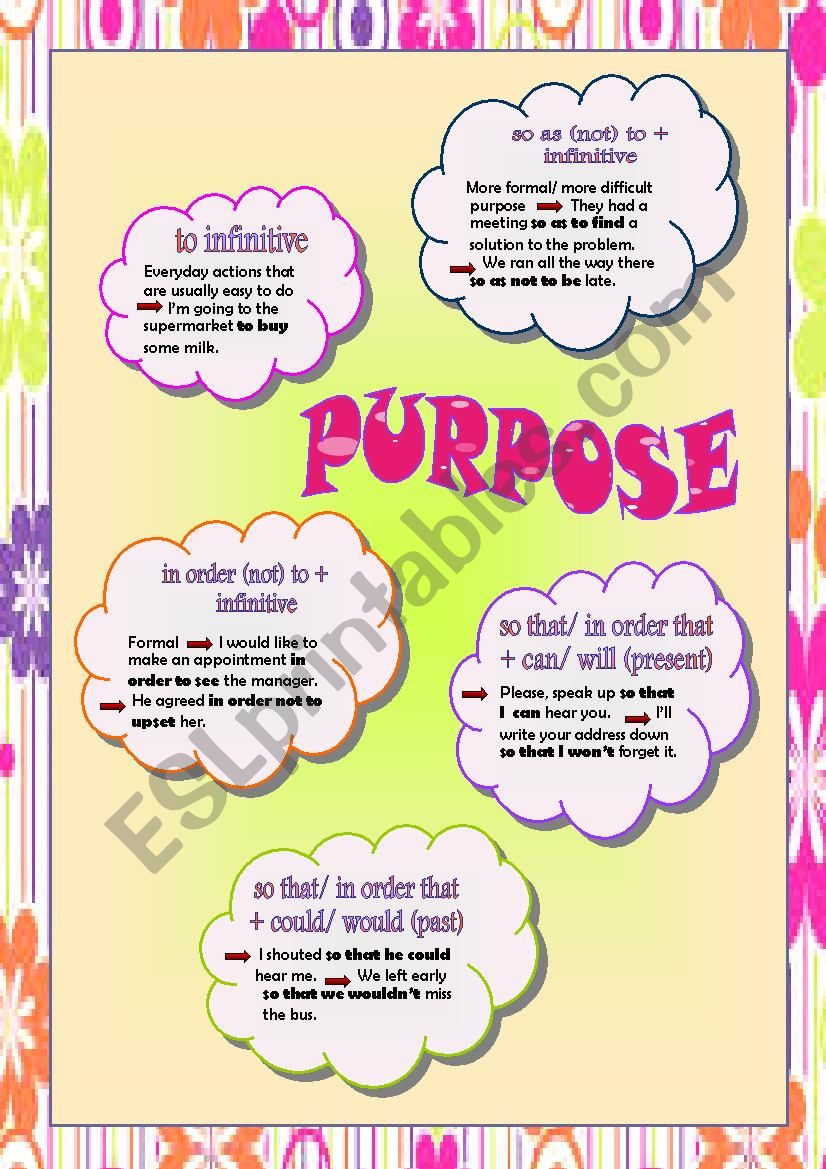 Clauses of purpose worksheet