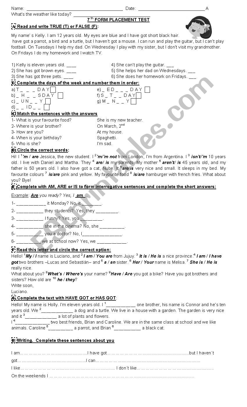Placement test worksheet