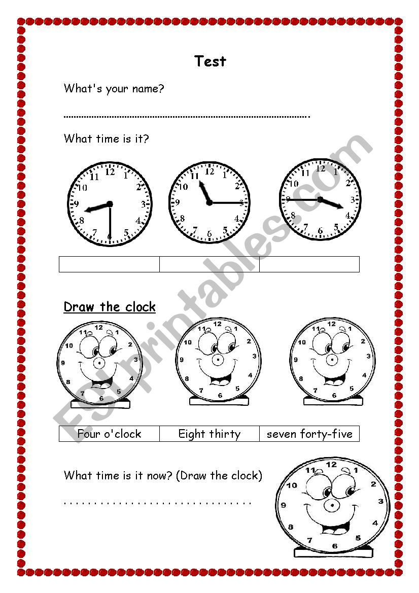 Test for Elementary worksheet