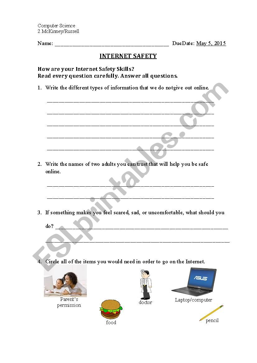 This is an image of Nerdy Free Printable Internet Safety Worksheets