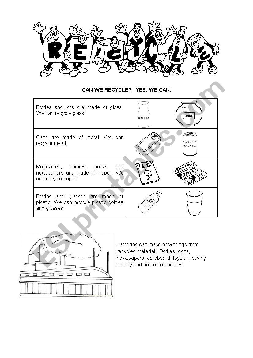 Recycle worksheet