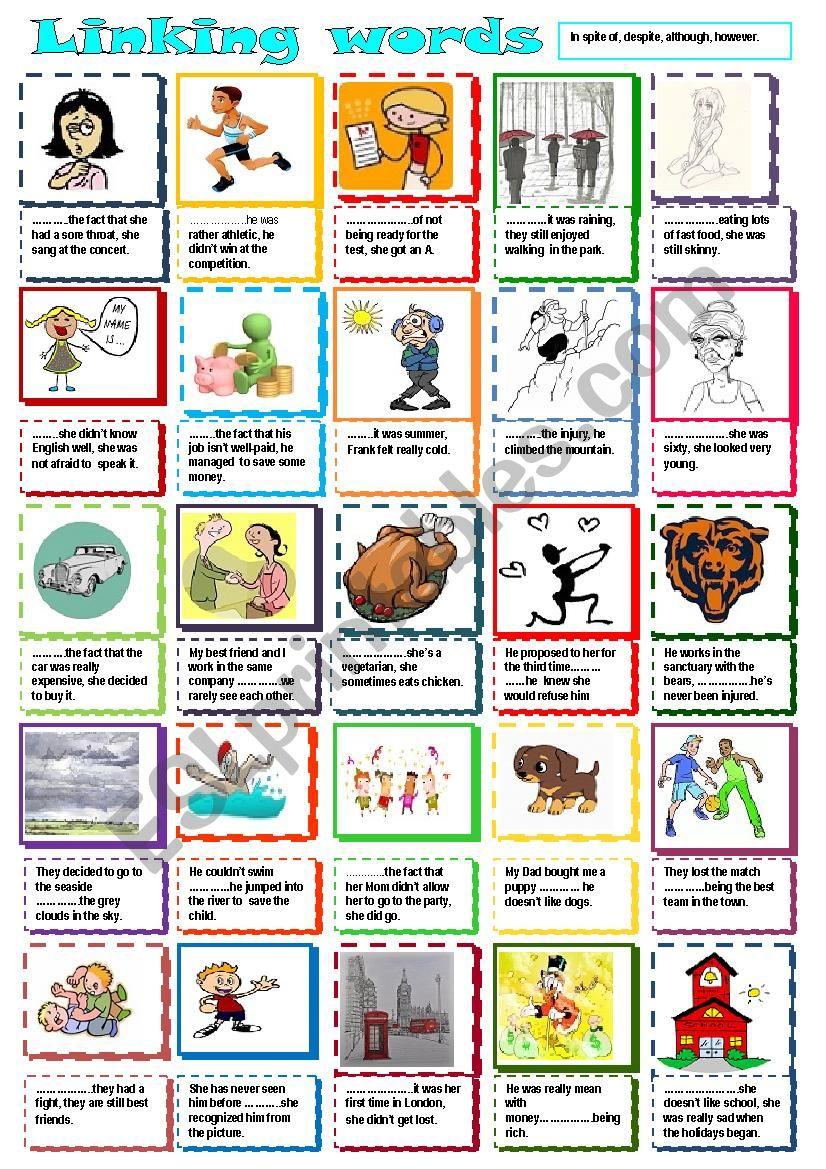 Linking words worksheet