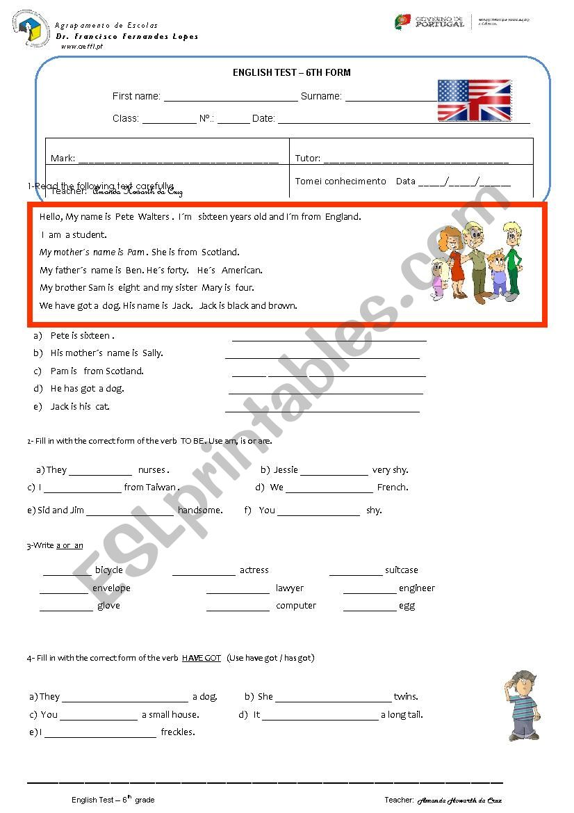 test 6th form - Personal info worksheet