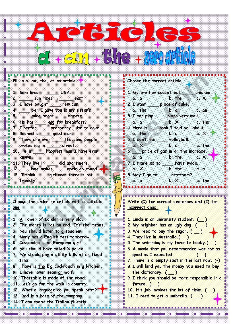 English definite and indefinite articles