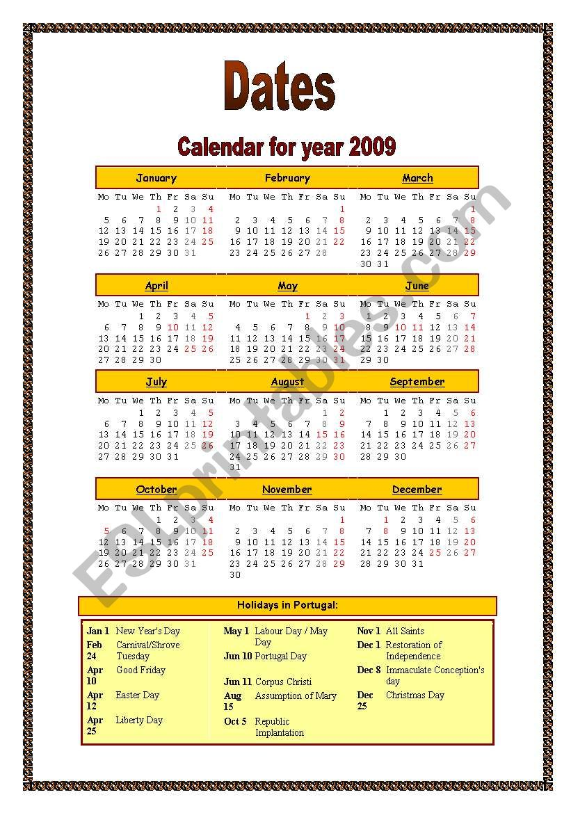 Calendar for year 2009 (dates and holidays)