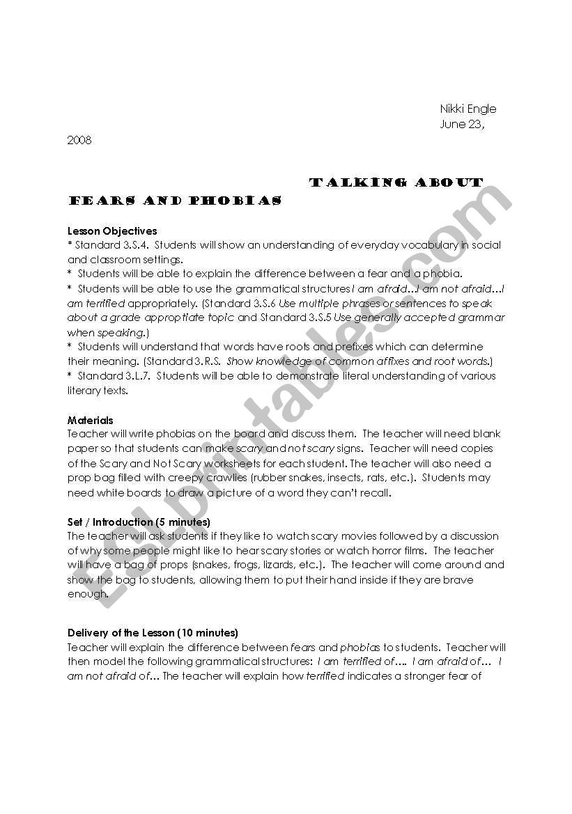 Fears and Phobias - ESL worksheet by Nengle