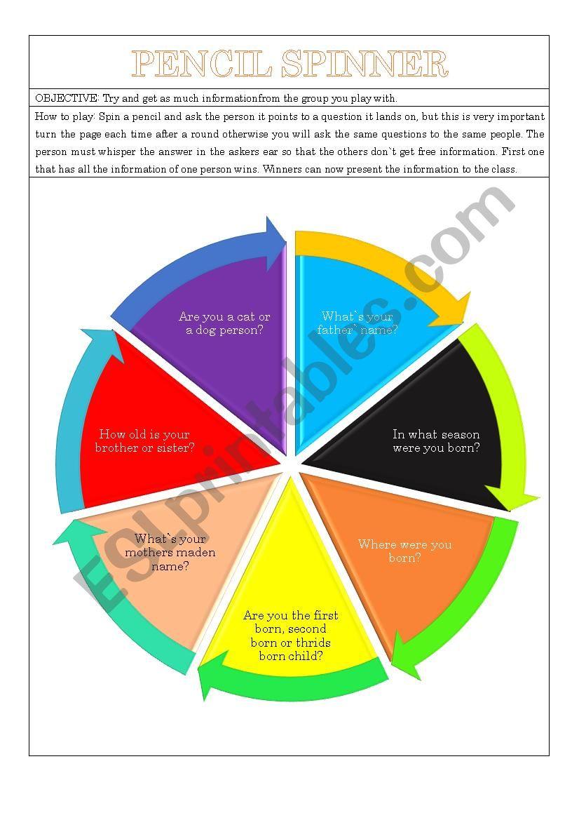 pencil spinner info share esl worksheet by gyslindaolivier
