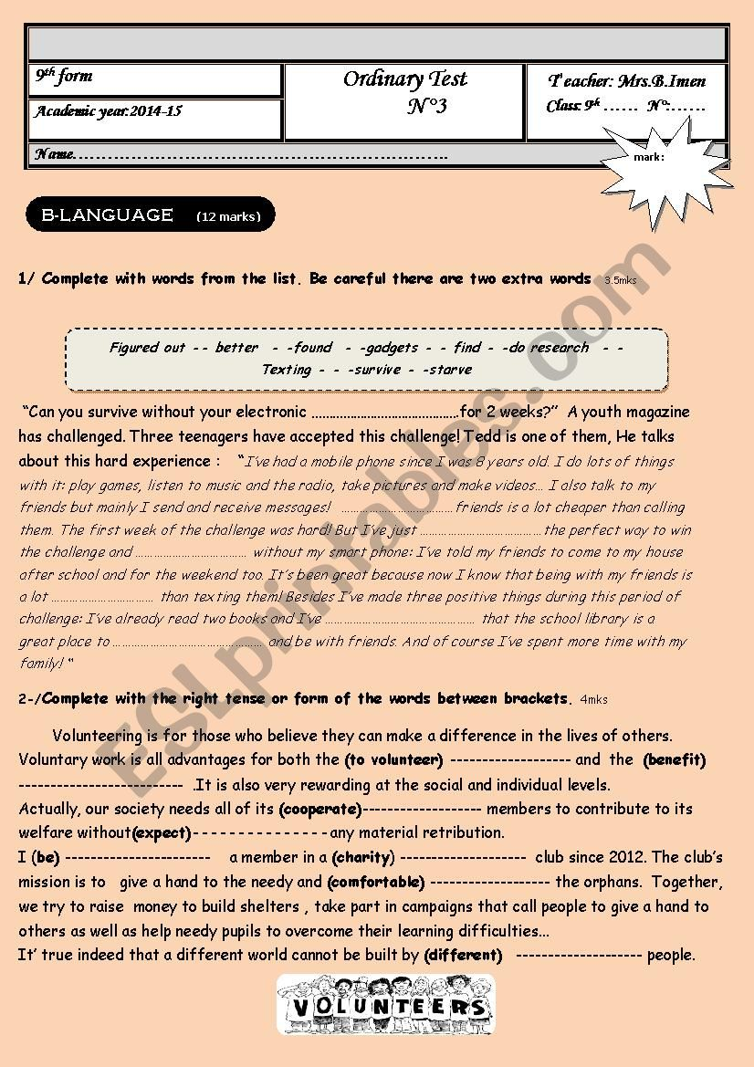 mid term test n3 -9th form worksheet