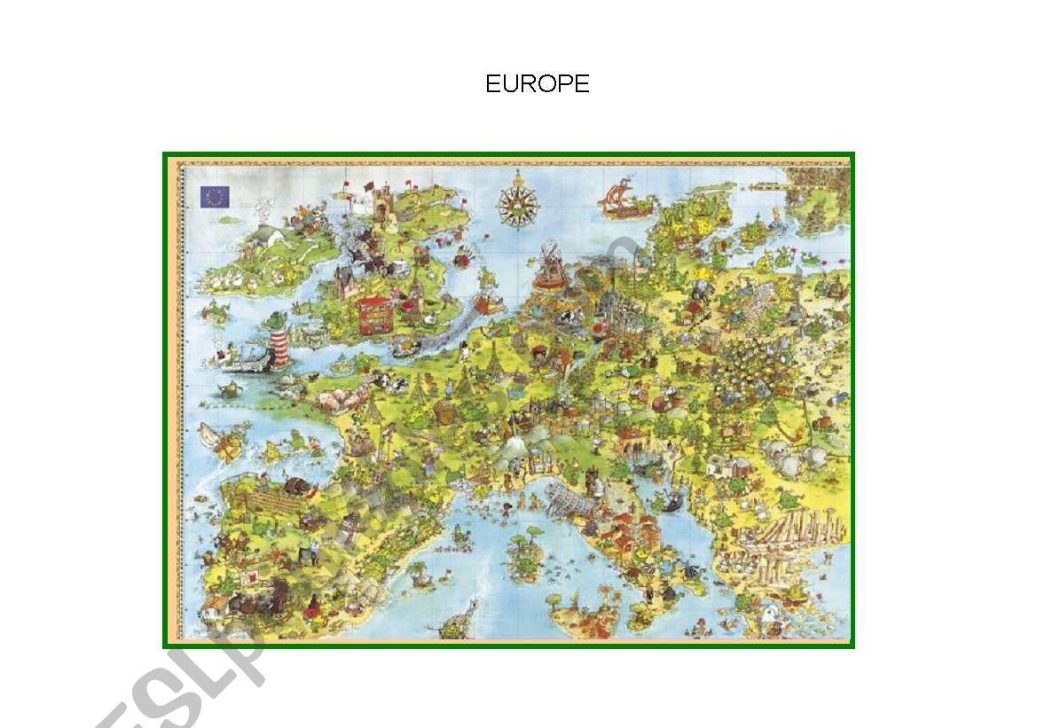 Map of Europe worksheet