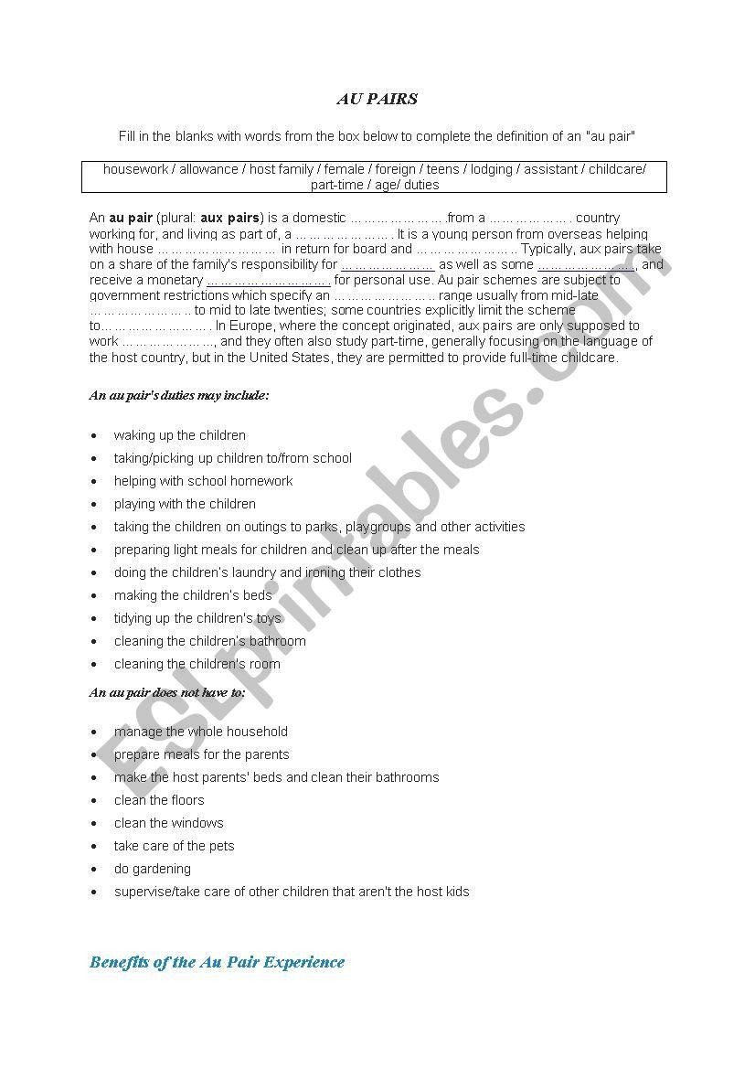 au pair - esl worksheet by fefa101
