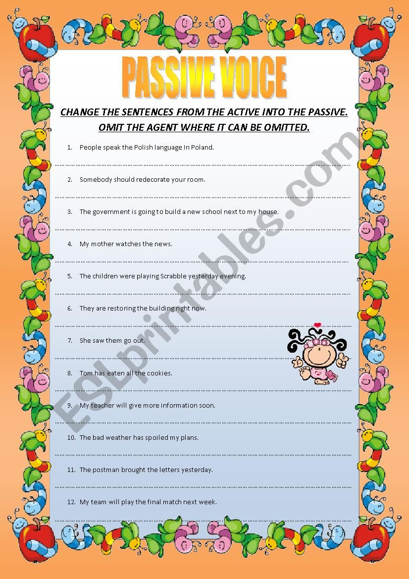 PASSIVE VOICE - 60 sentences worksheet