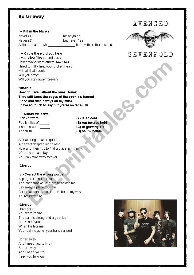 Avenged Sevenfold - So far away - ESL worksheet by Jose Dalson