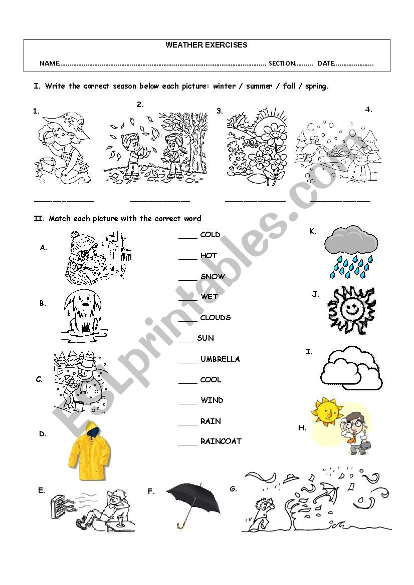 WEATHER VOCABULARY worksheet