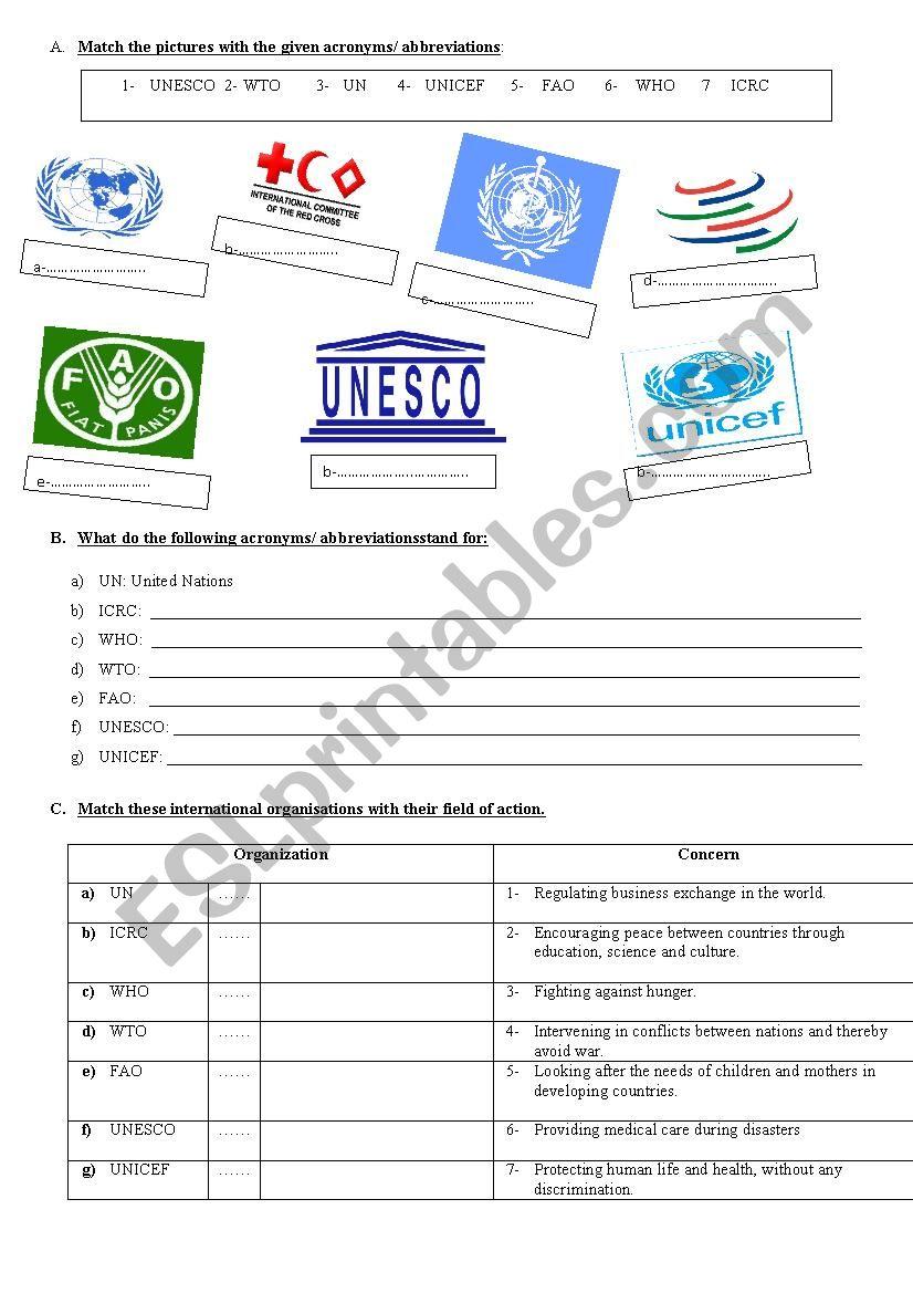 international organisations worksheet