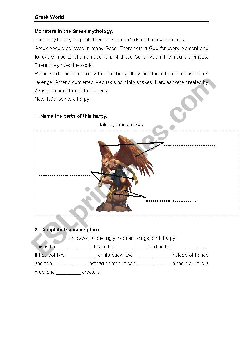 Greek Mythology worksheet
