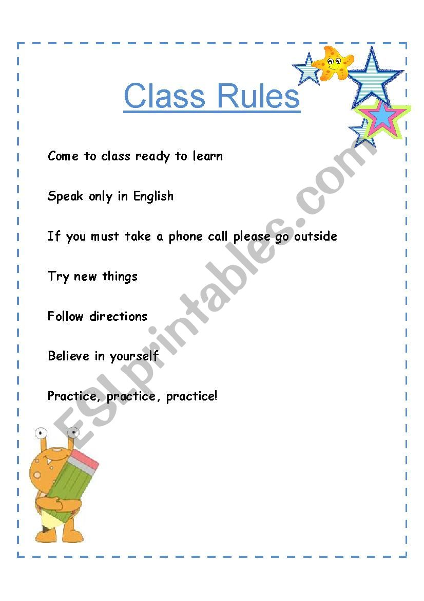 ESL class rules for adults worksheet