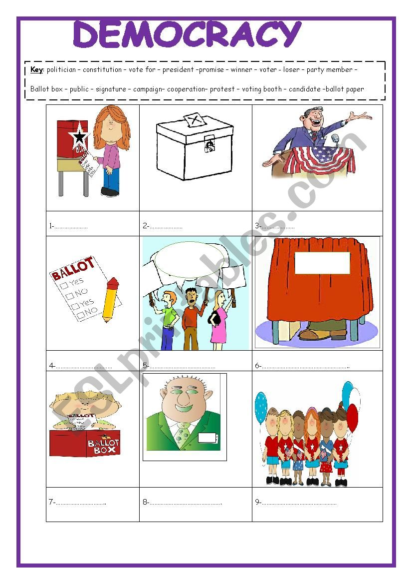 Democracy vocabulary 2 pages and answer key included - ESL ...