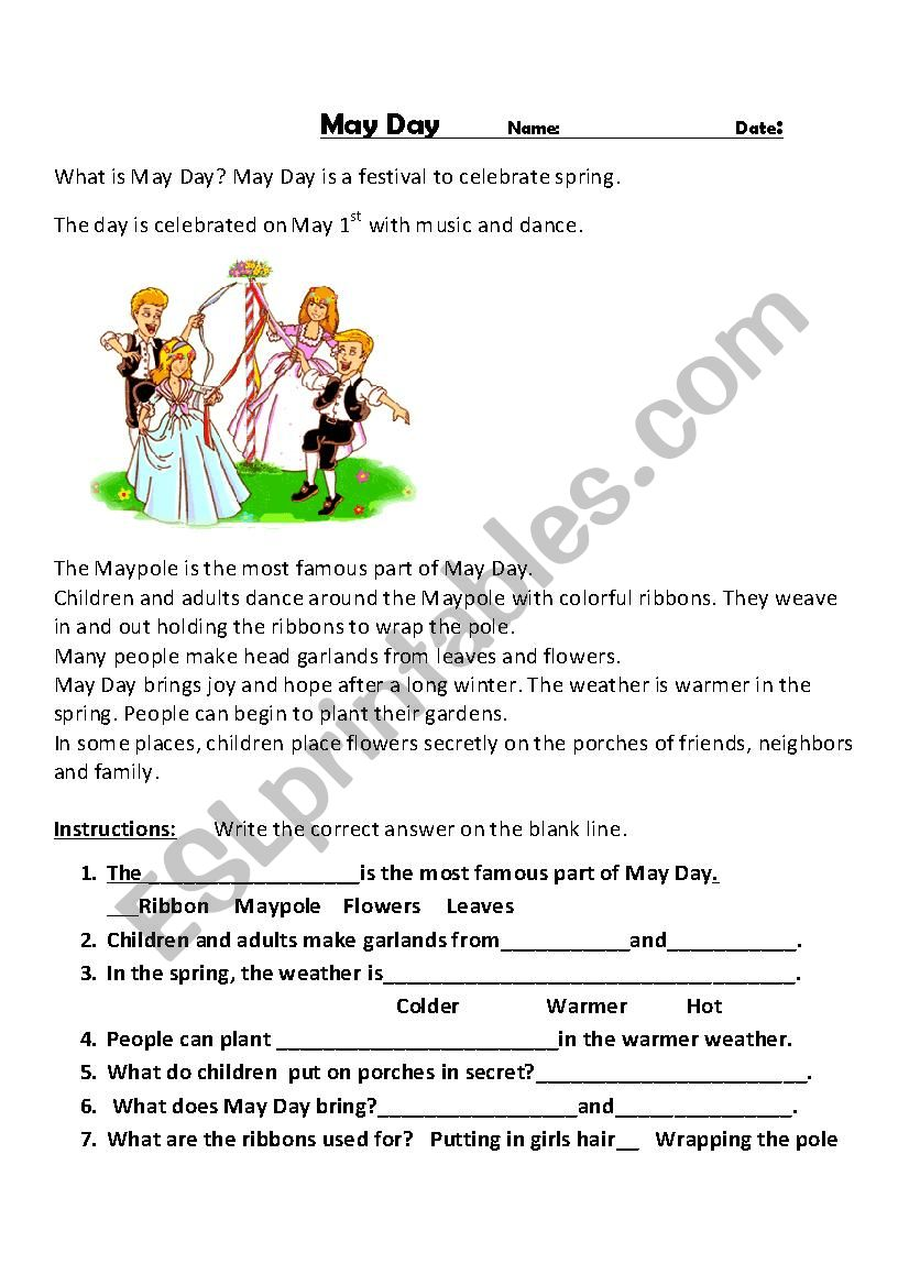 May Day Traditions worksheet