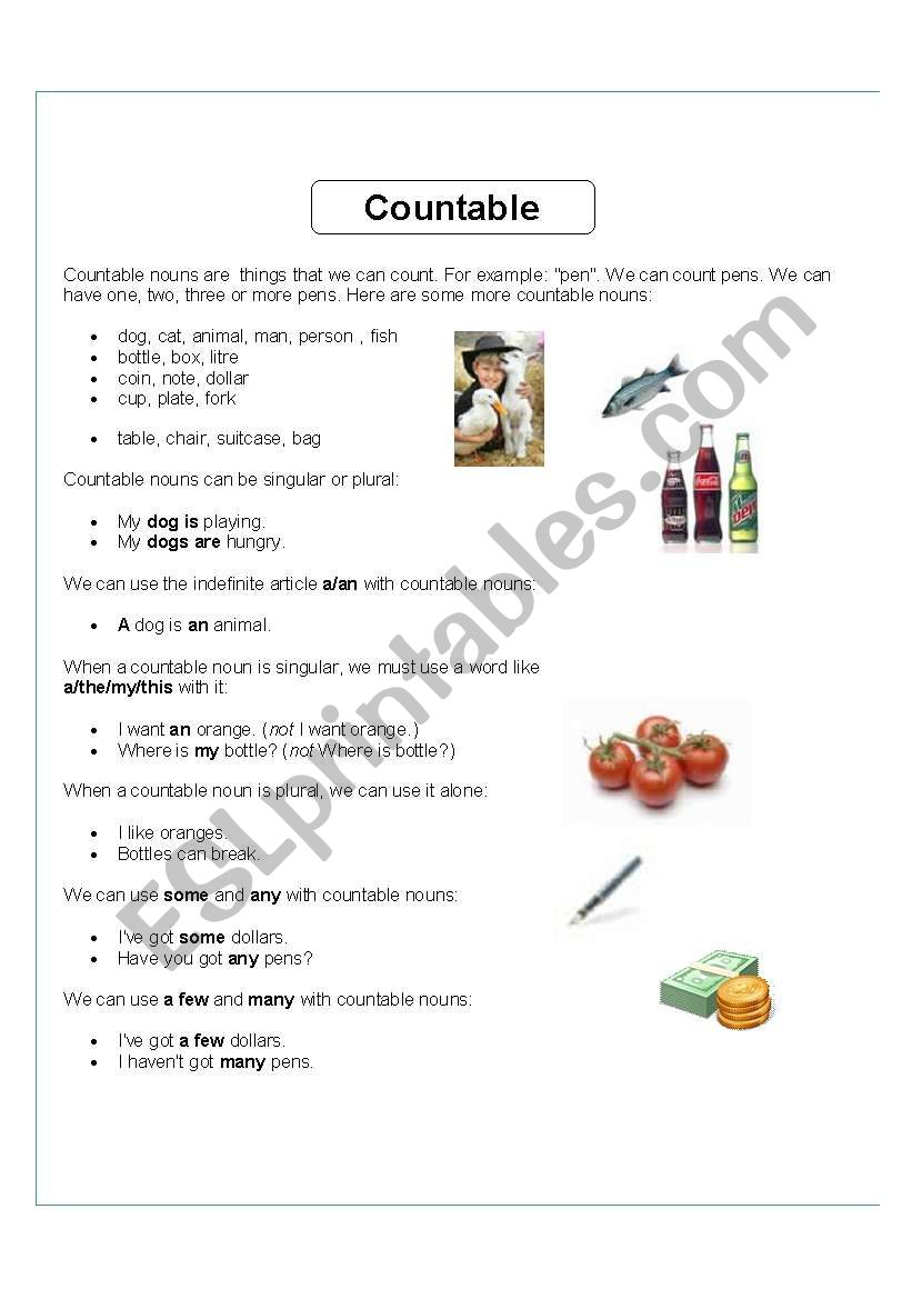 Countable Uncountable Nouns Esl Worksheet By Gloriawpai