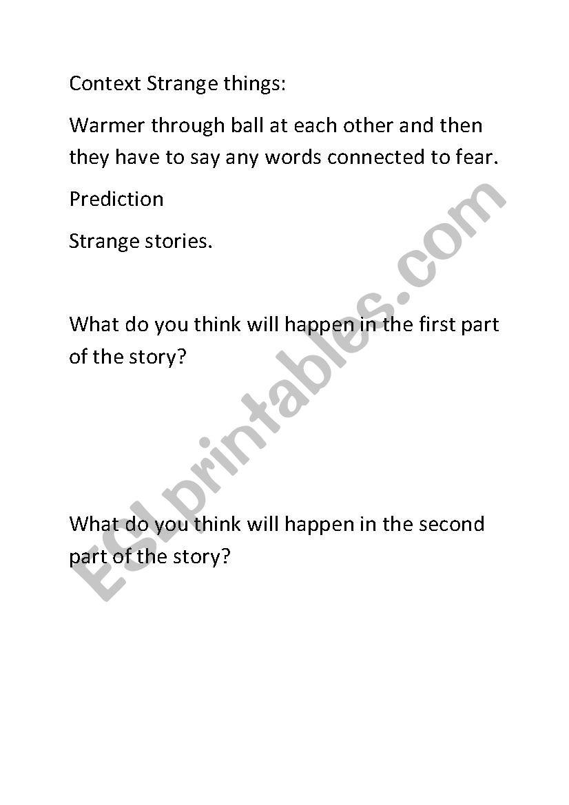 strange stories  worksheet