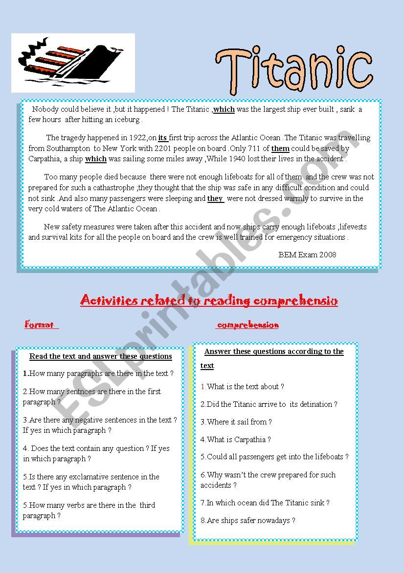 - Reading Comprehension About The Titanic - ESL Worksheet By Nassimproff
