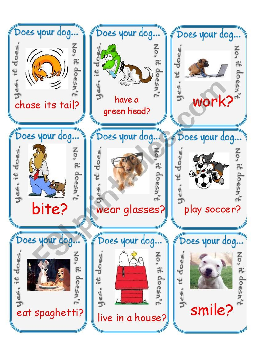 Does Your Dog...? Go Fish worksheet