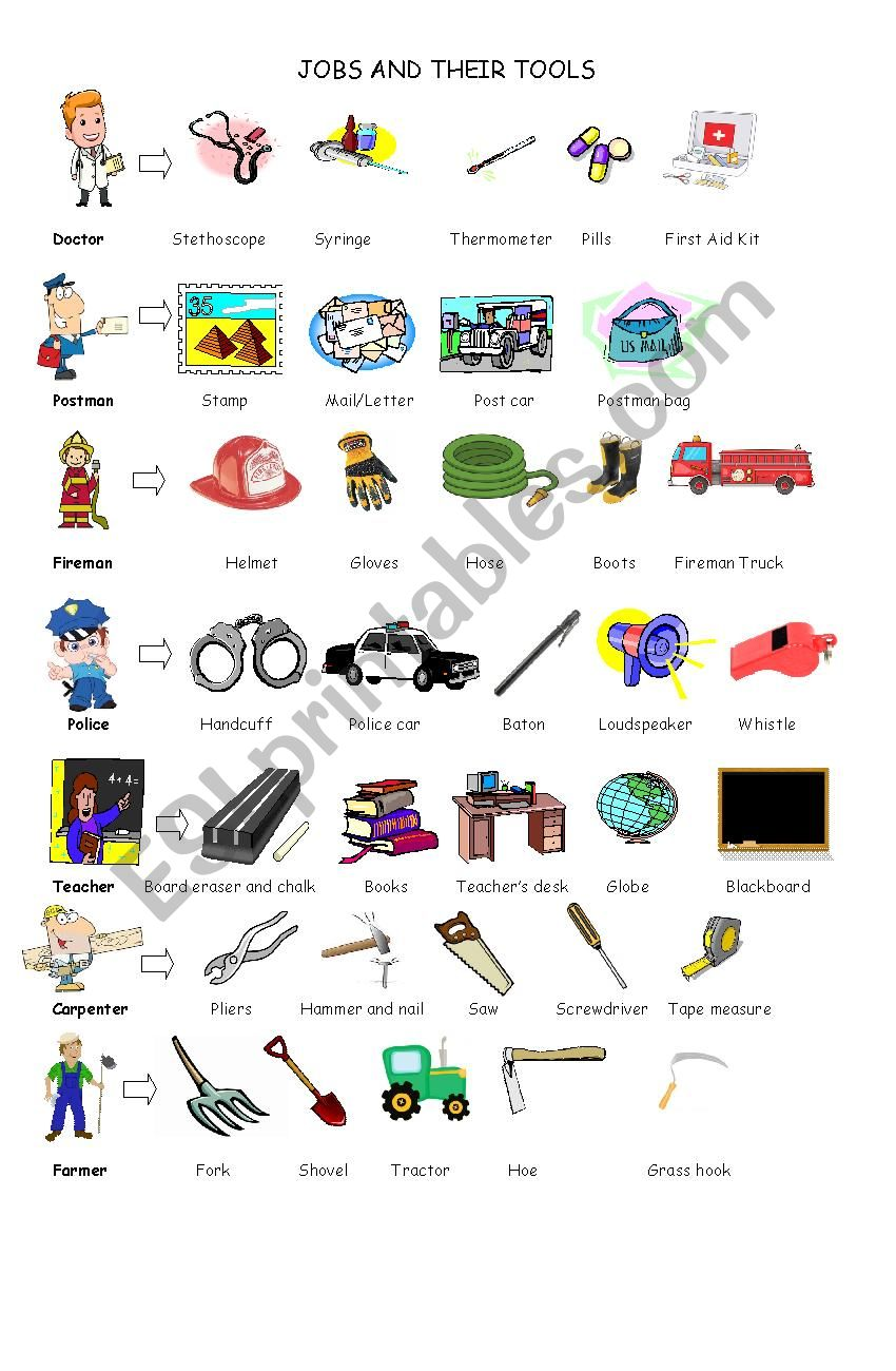 Jobs and their tools pictionary - ESL worksheet by vivivivie