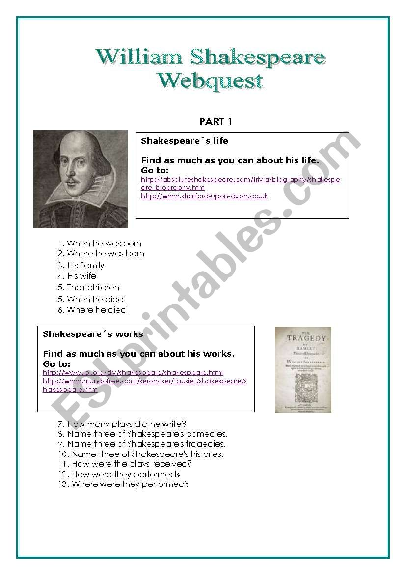Shakespeare Webquest worksheet