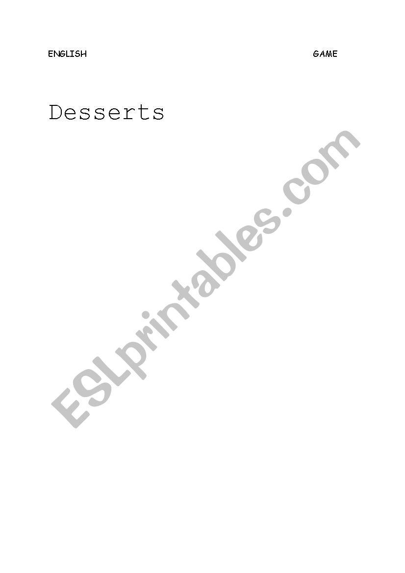 desserts hidden words worksheet
