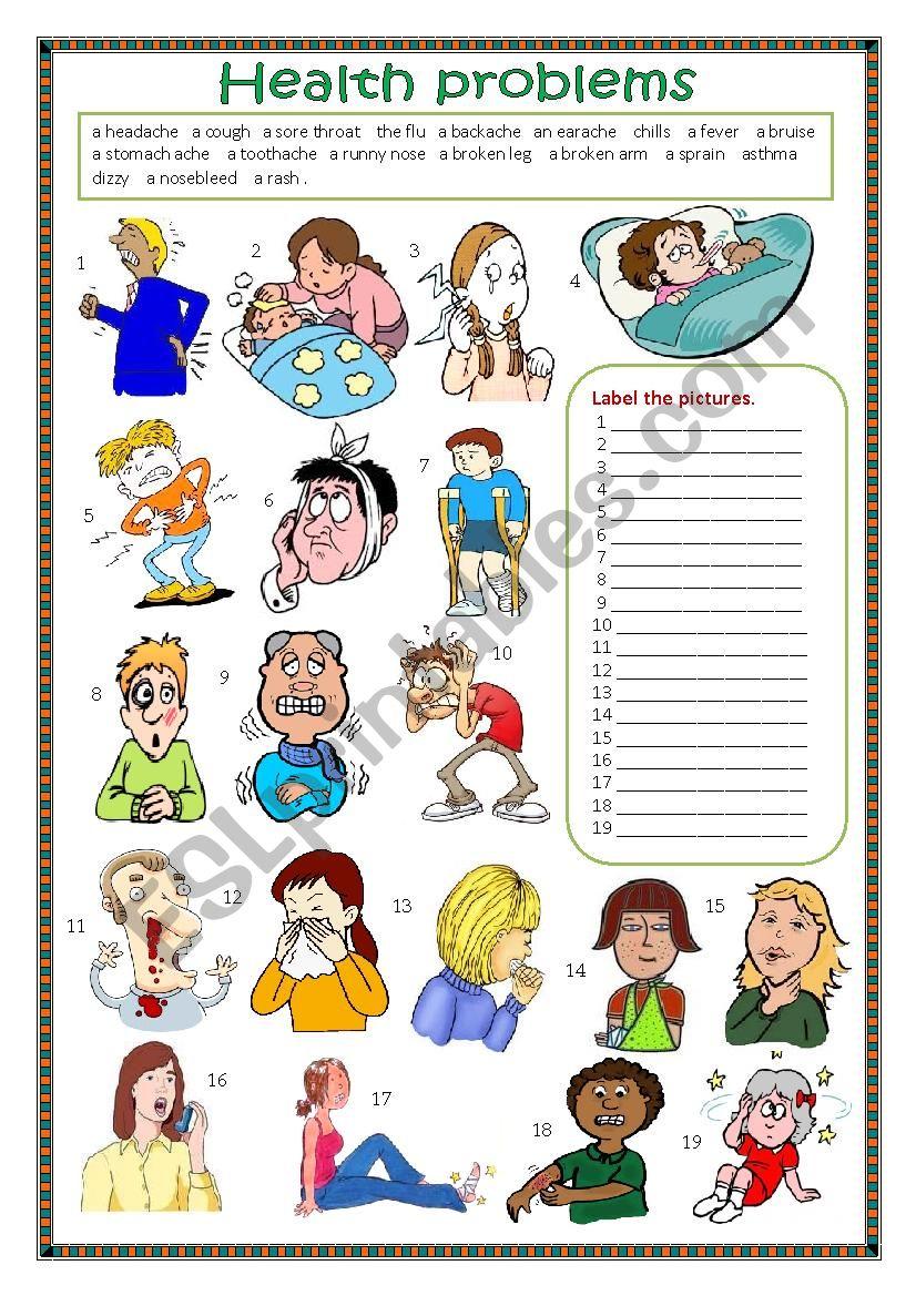 Health problems. worksheet