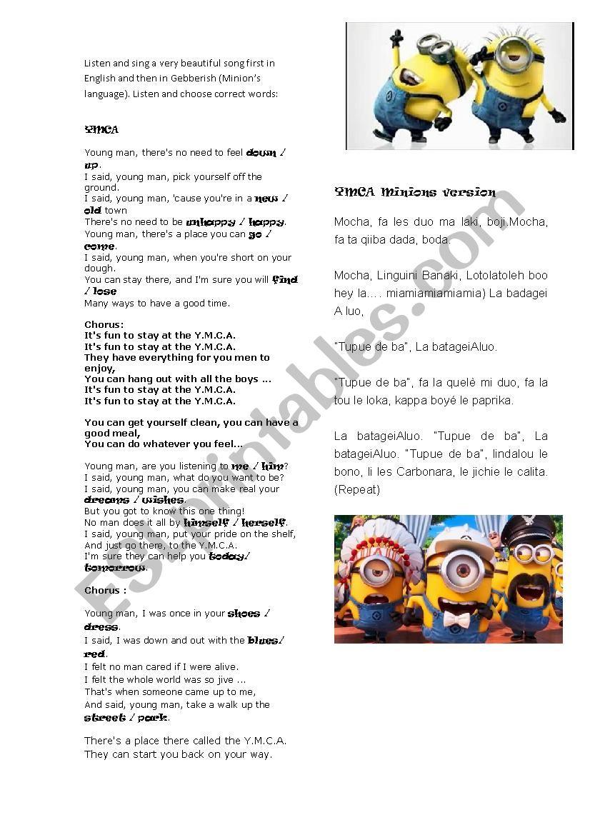 YMCA song worksheet