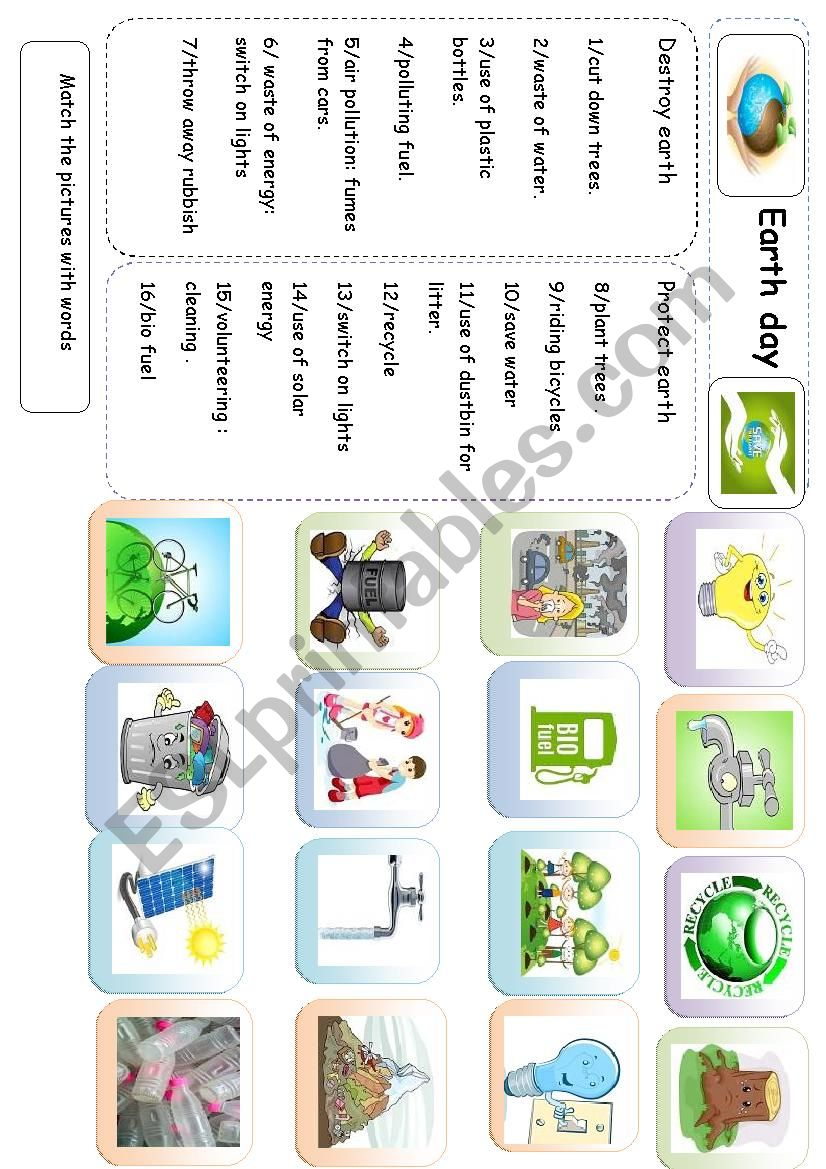 save the planet worksheet