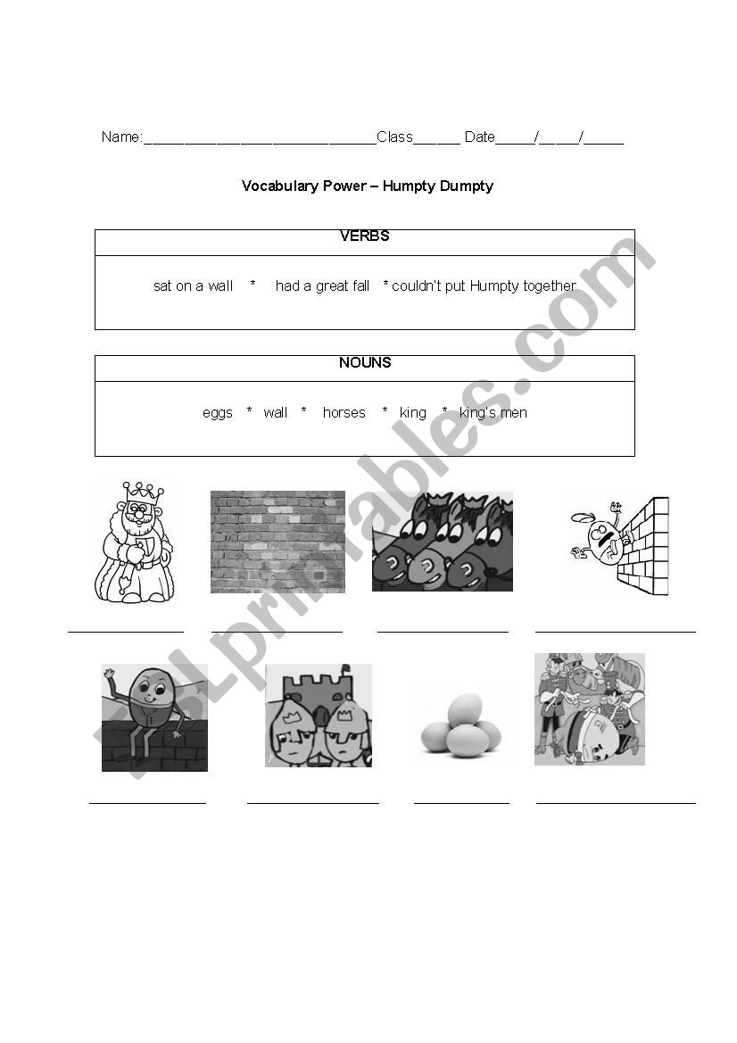Humpty Dumpty Vocabulary Worksheet