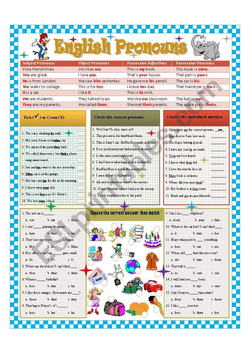English Pronouns worksheet