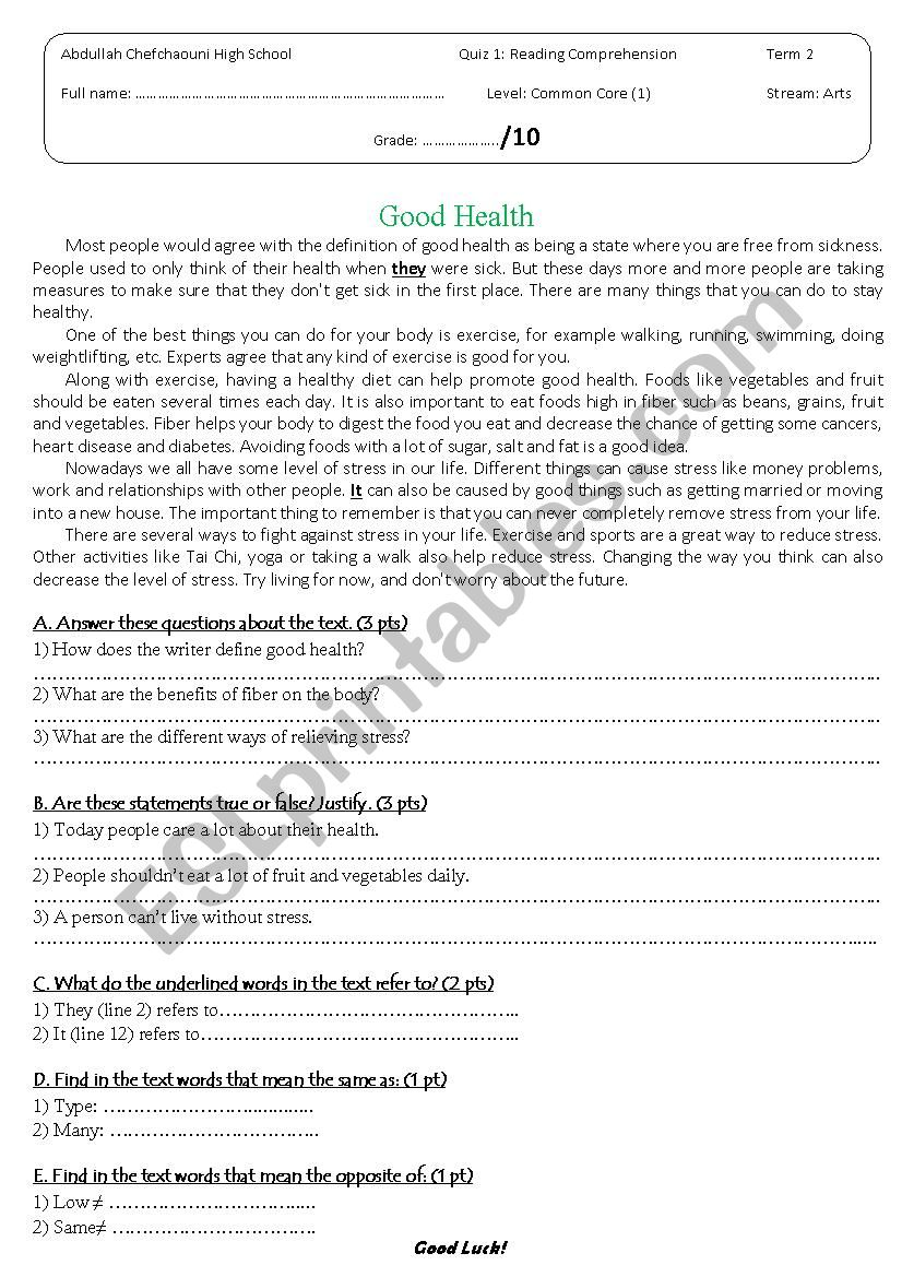 Reading comprehension quiz - ESL worksheet by Ibrahimoviç