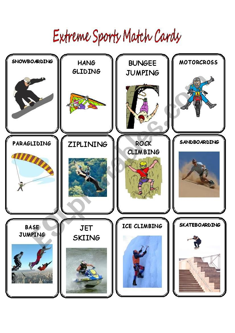 Extreme Sports Match Cards worksheet