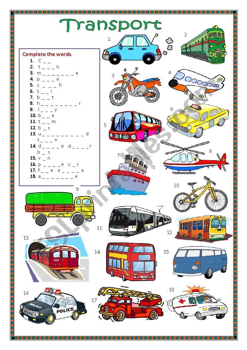 Means of travel worksheet