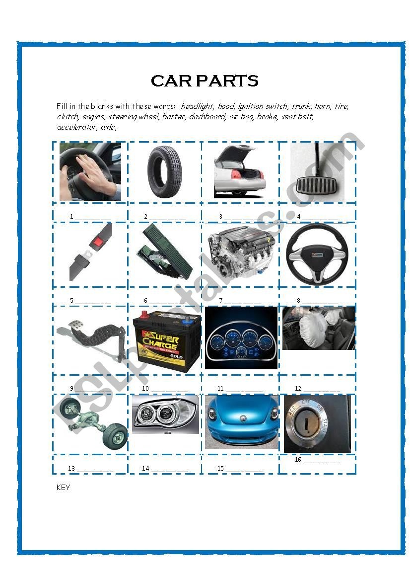 Car Parts Vocabulary WS worksheet
