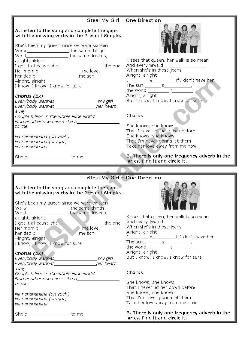 Present Simple Song Esl Worksheet By Stellafshotmail