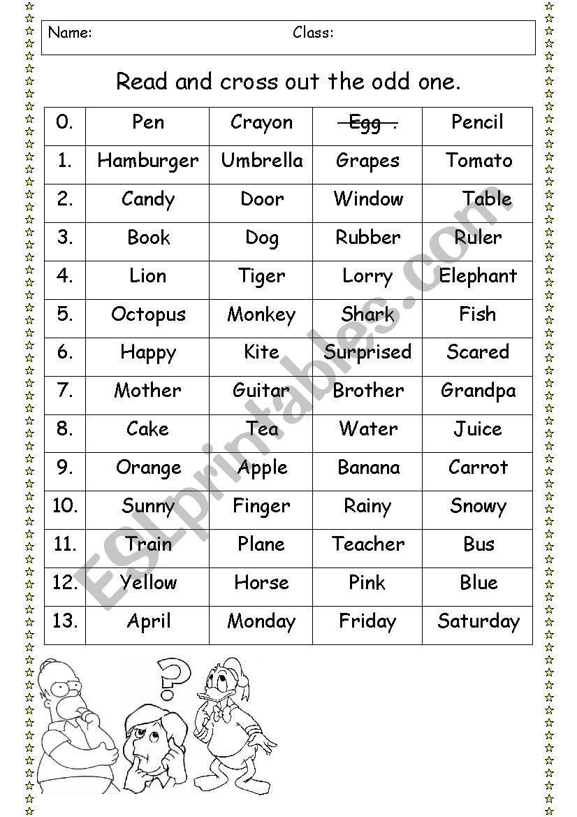 Revision of vocabulary (cross out the odd one)