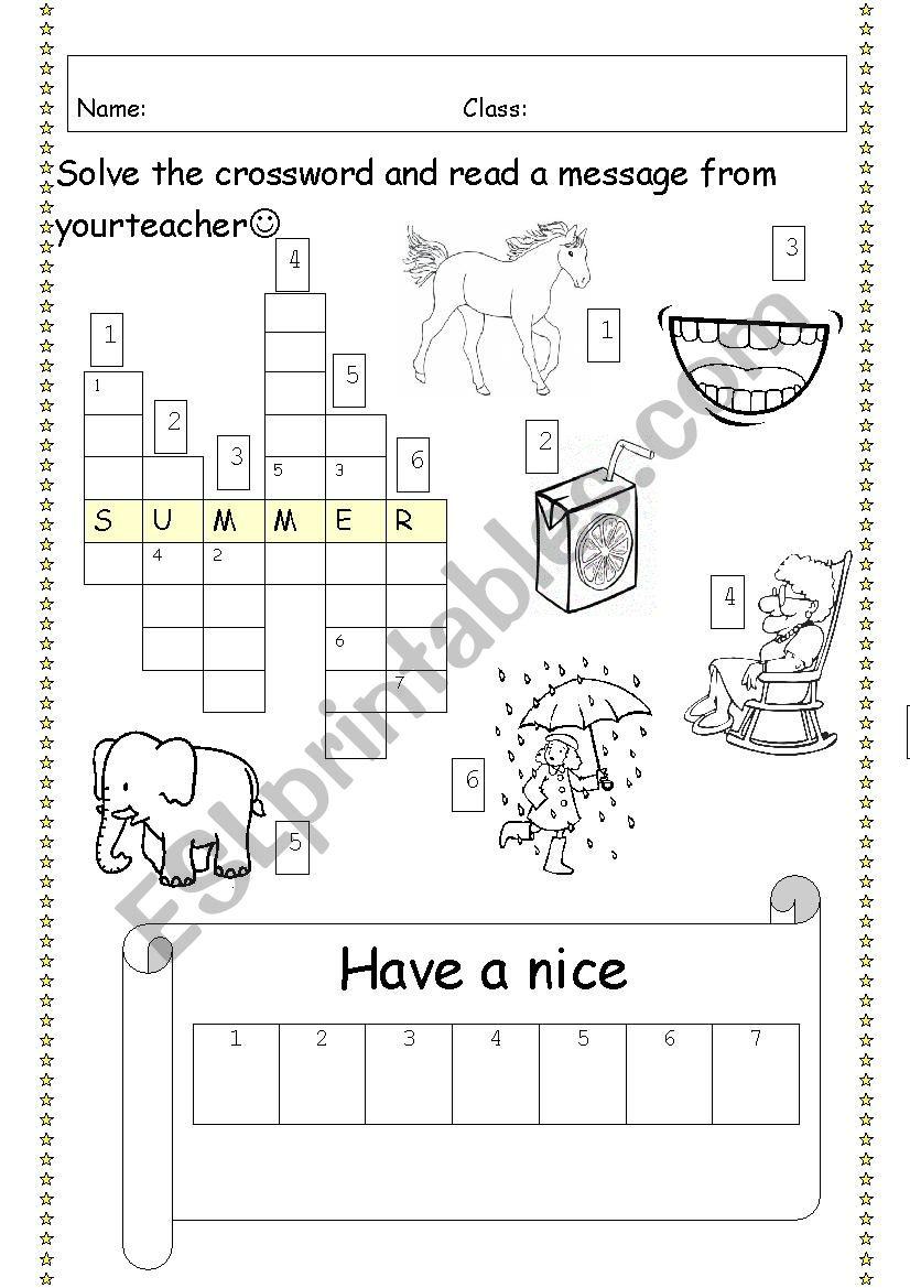 Last Day Of School Last Lesson Holiday Crossword Esl Worksheet