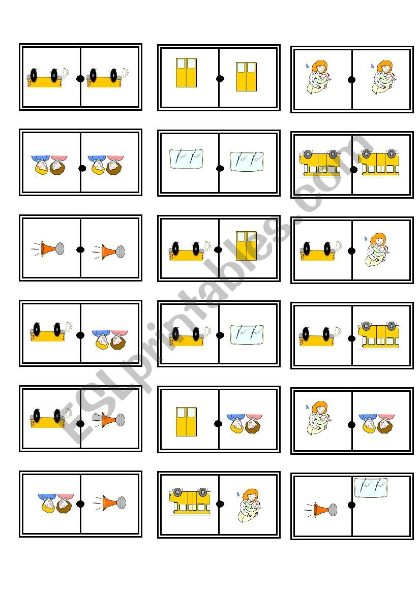 wheels on the bus domino worksheet
