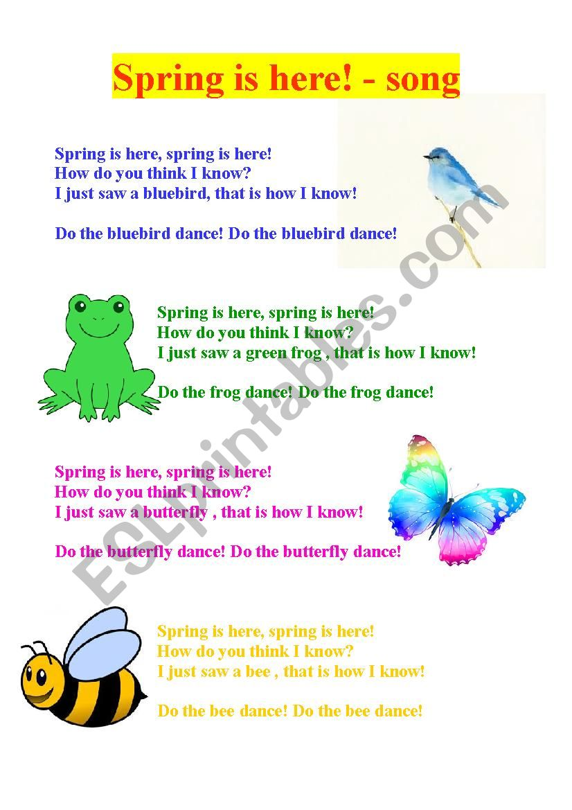 Spring is here -lyrics worksheet